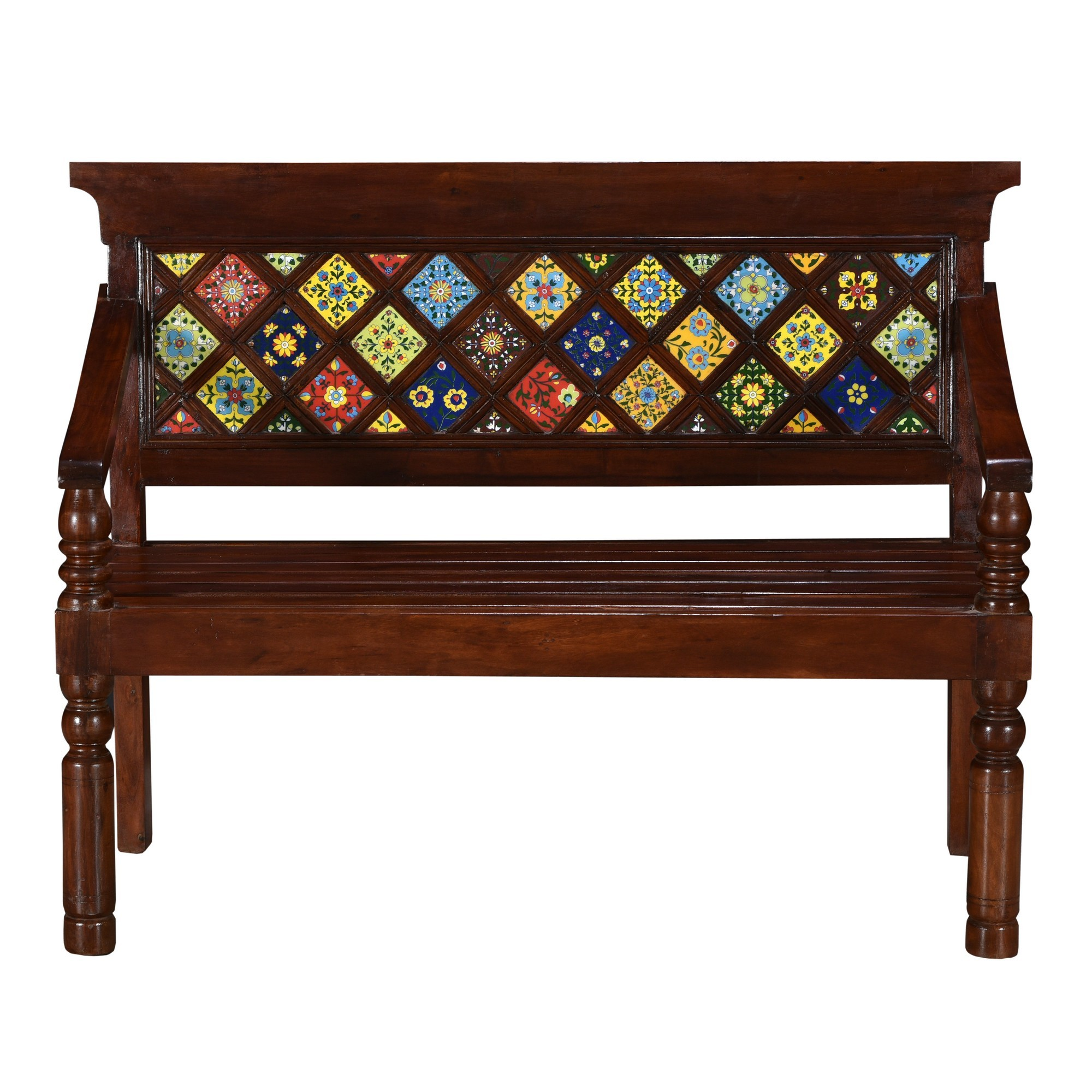 Safina Moroccan Tile Inlay Timber Bench