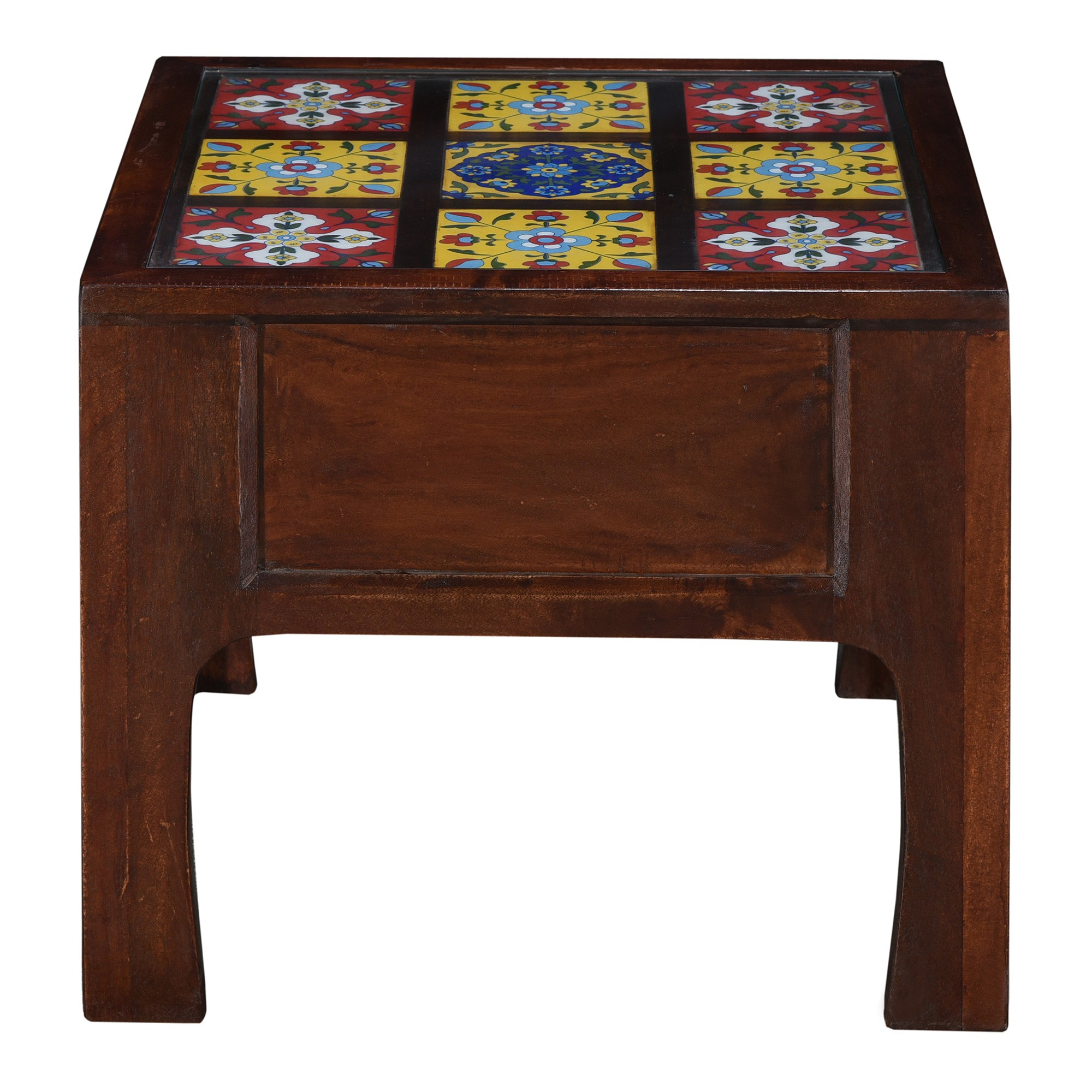 Neptune Moroccan Tile Inlay Timber Square Coffee Table, 60cm