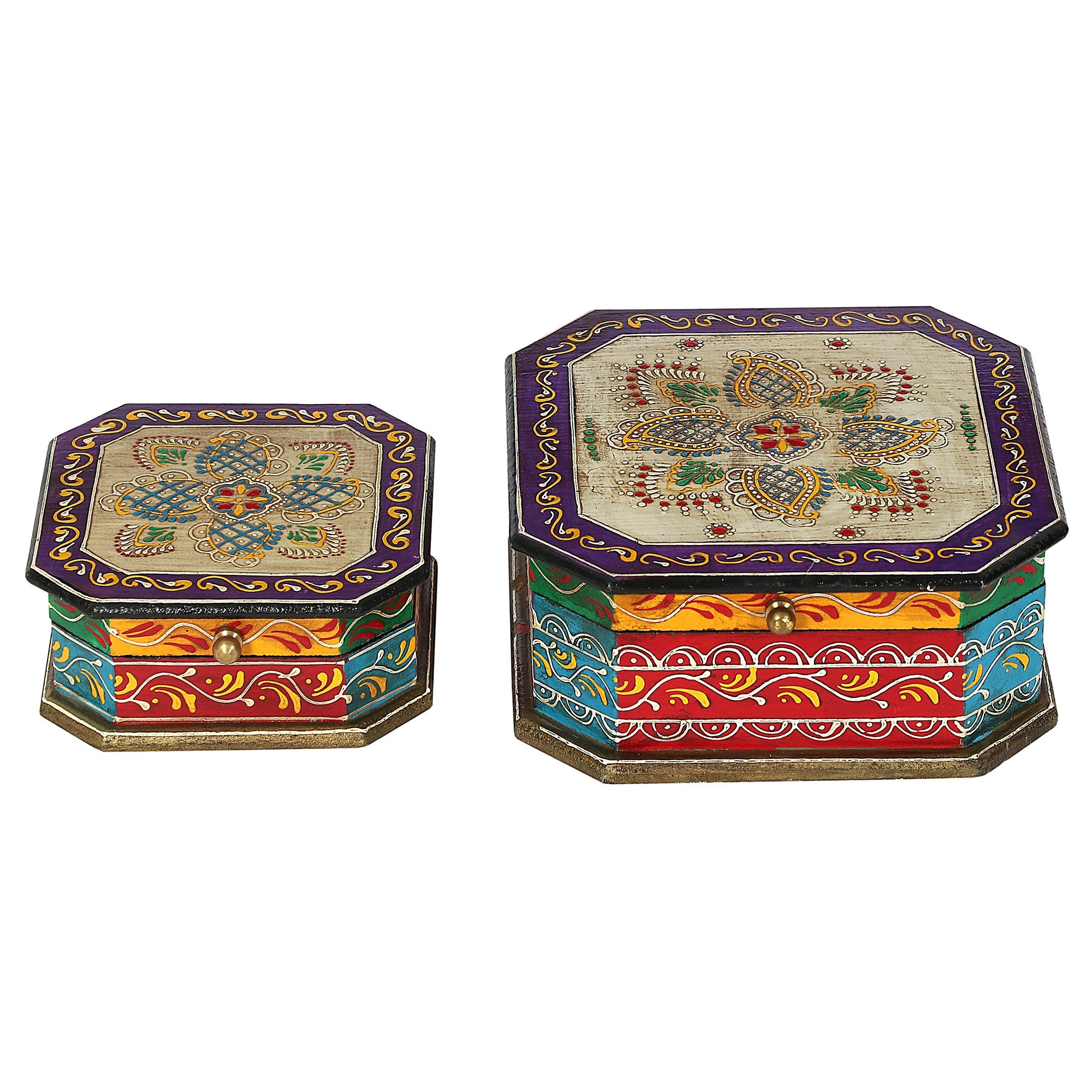 Bonti 2 Piece Painted Wooden Storage Box Set