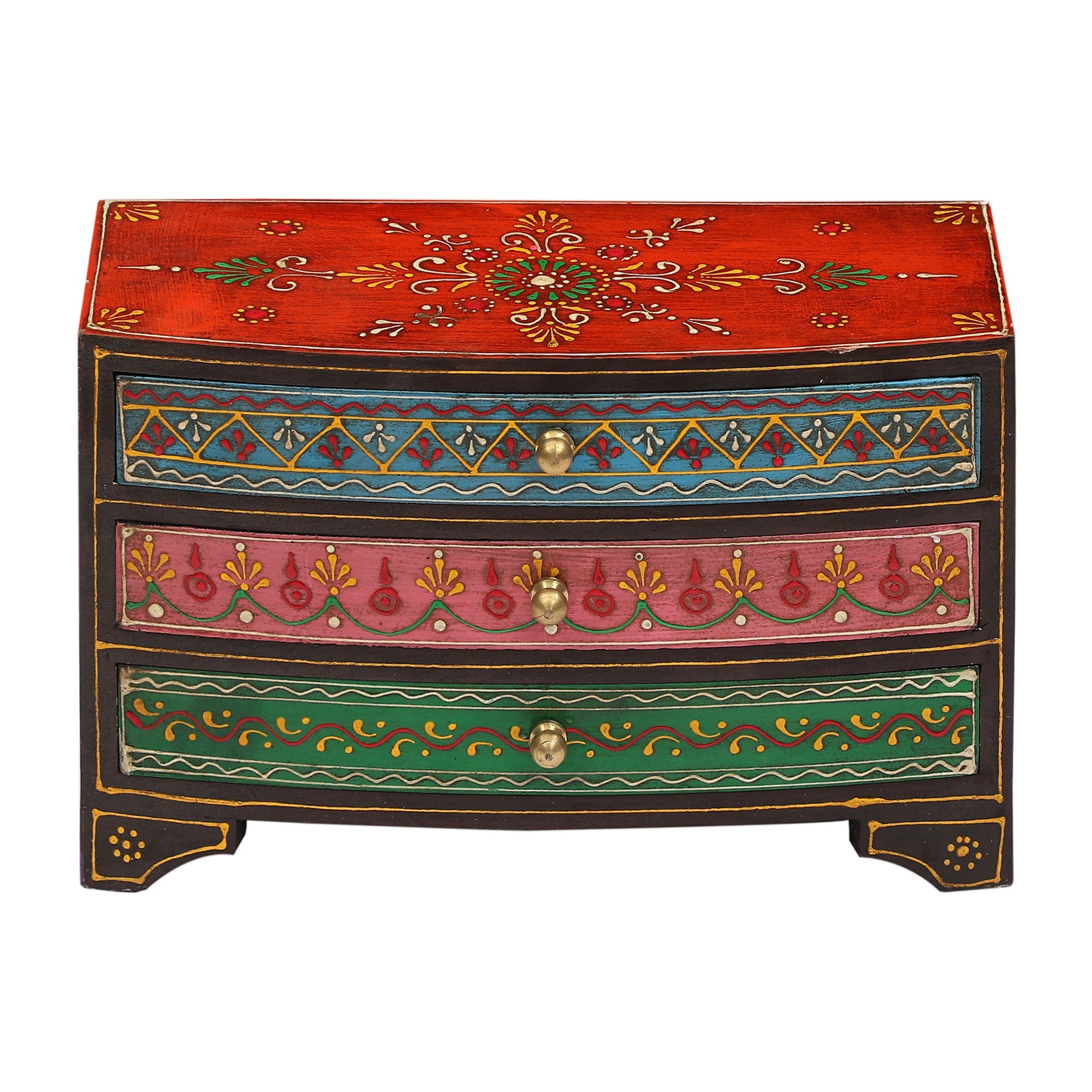 Peeta Painted Wooden Drawer Trinket Chest