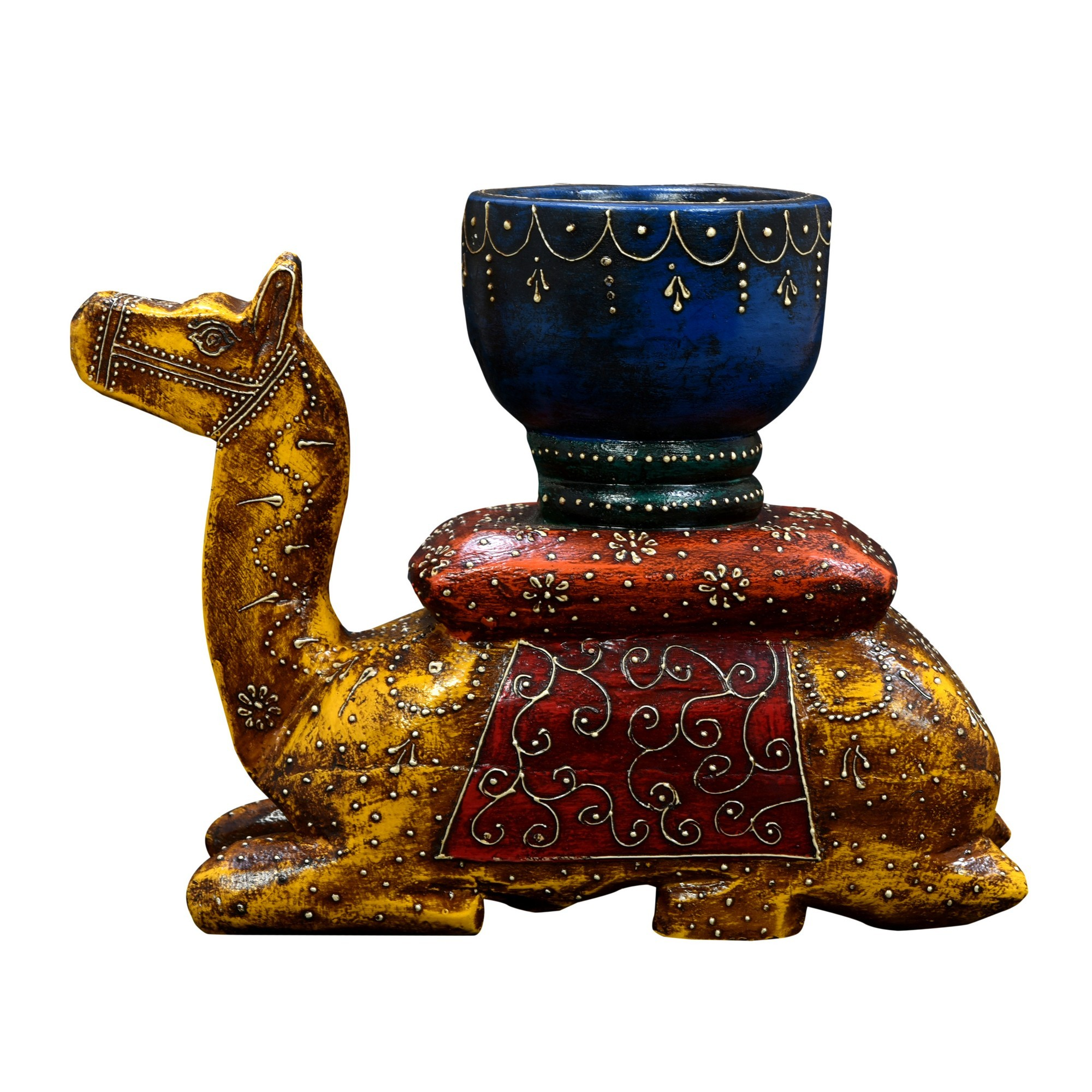 Crisano Hand Painted Timber Camel Candle Holder