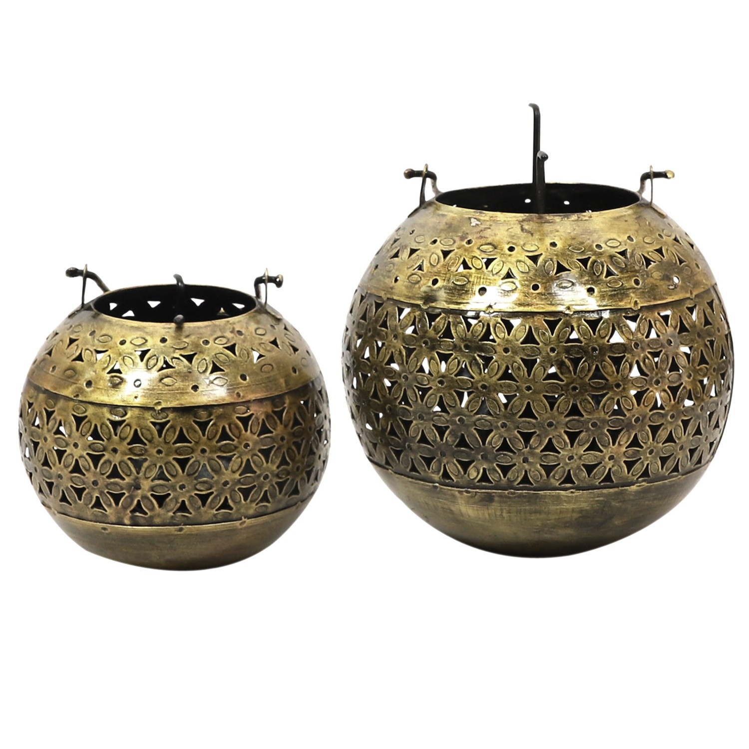 Redon 2 Piece Metal Cut Out Tealight Holder Set