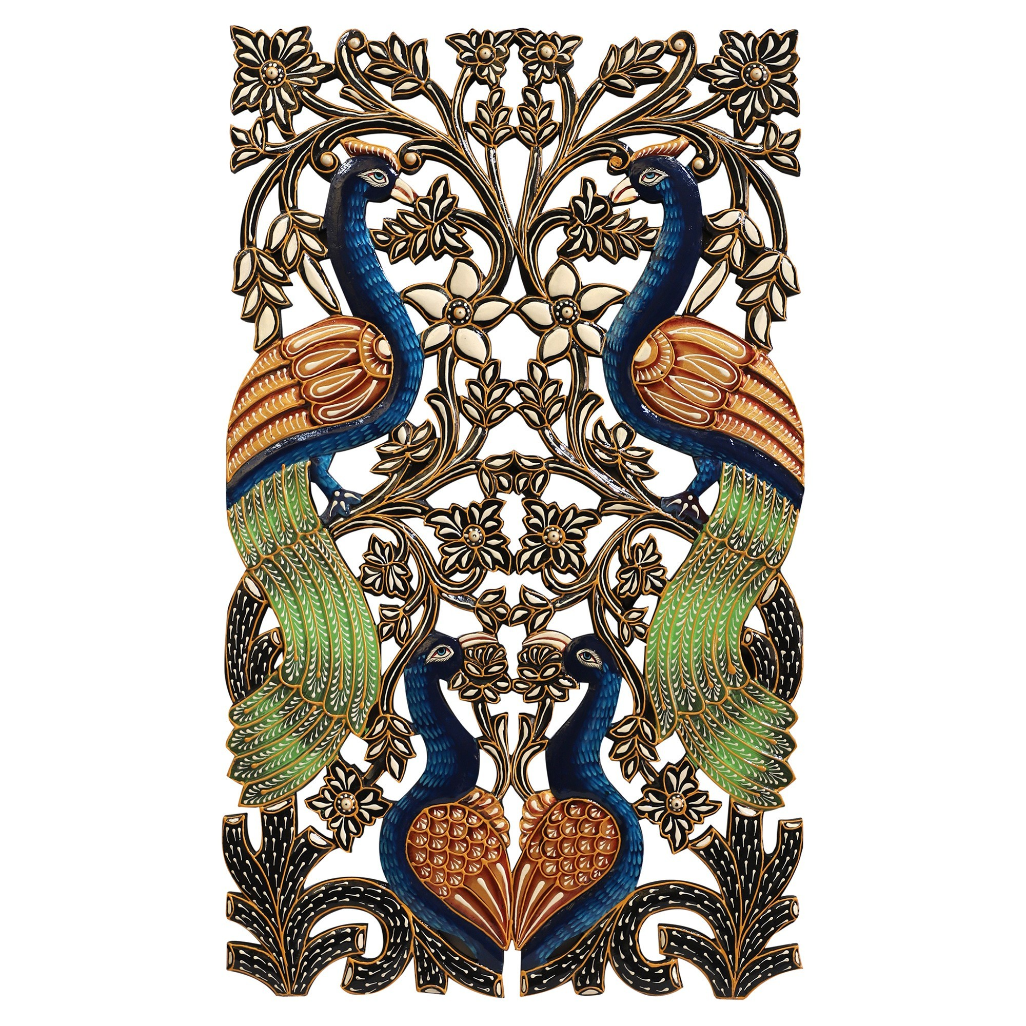 Gascon Hand Painted Wooden Peacock Wall Art, Rectangular, 76cm