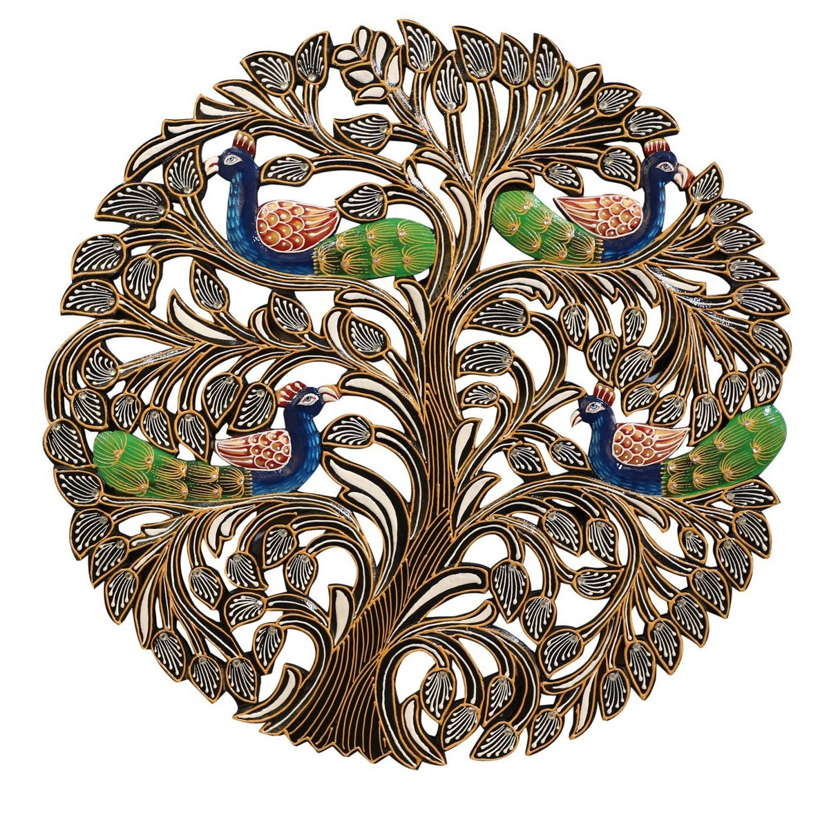 Gascon Hand Painted Wooden Peacock Wall Art, Round, 61cm