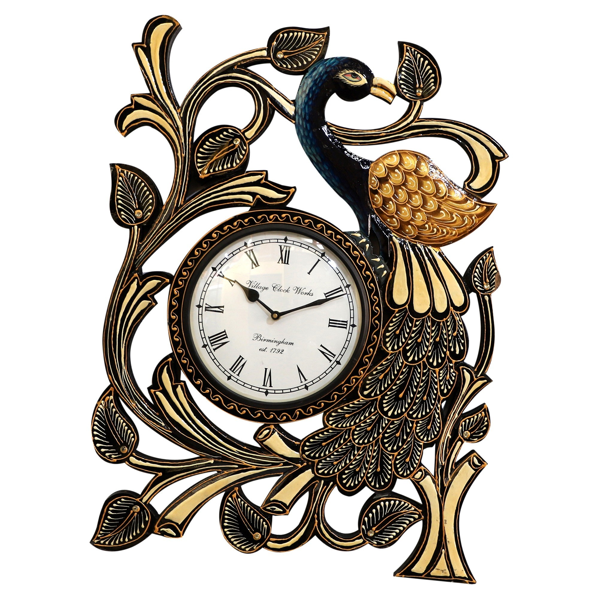 Peacock Hand Painted Wooden Peacock Wall Clock, 60cm