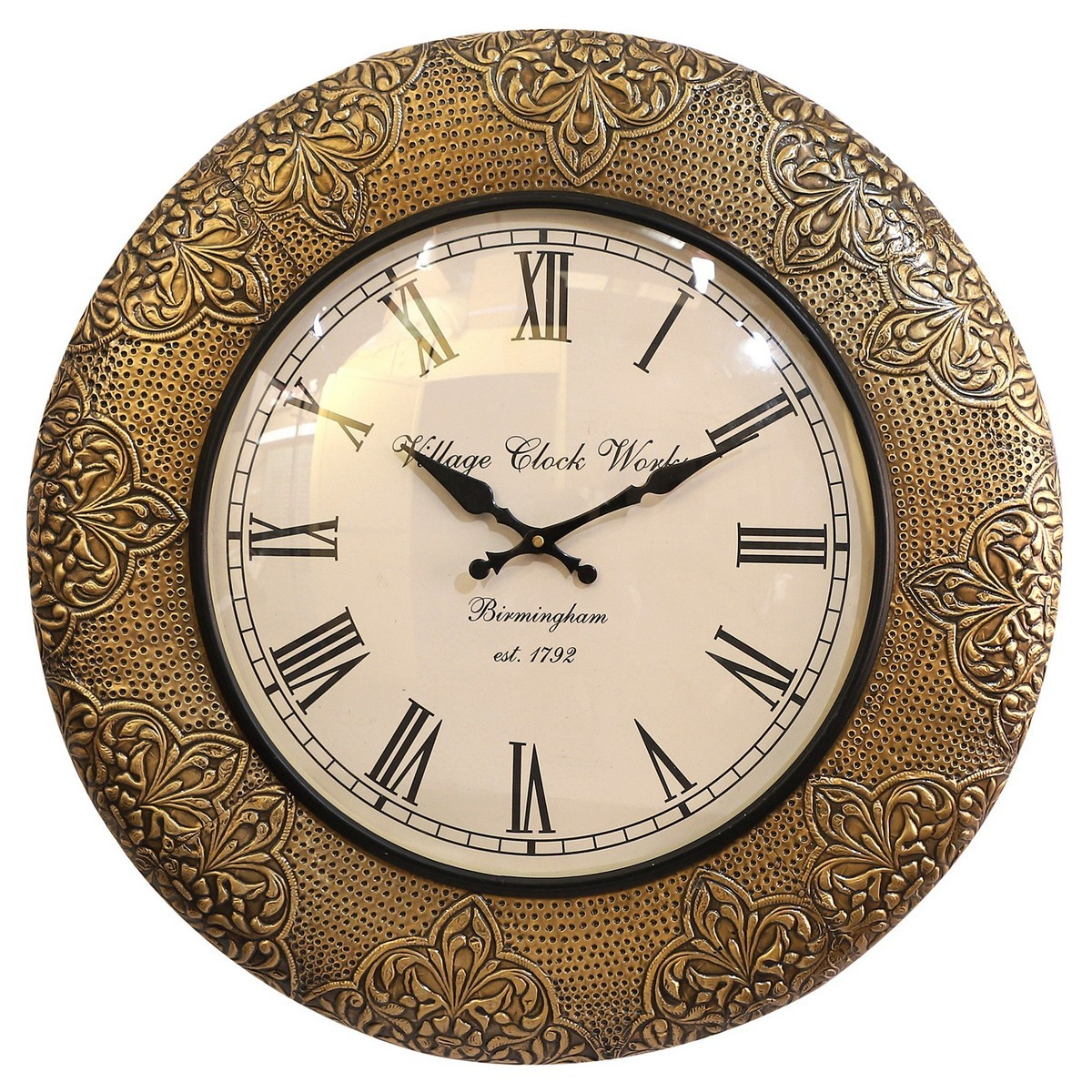 Isla Embossed Metal Round Wall Clock, 45.5cm