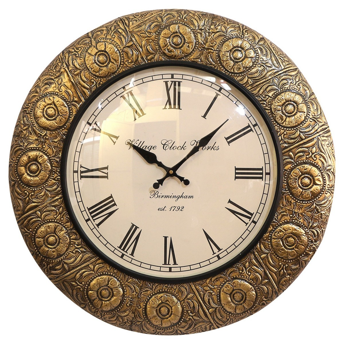 Ila Embossed Metal Round Wall Clock, 45.5cm