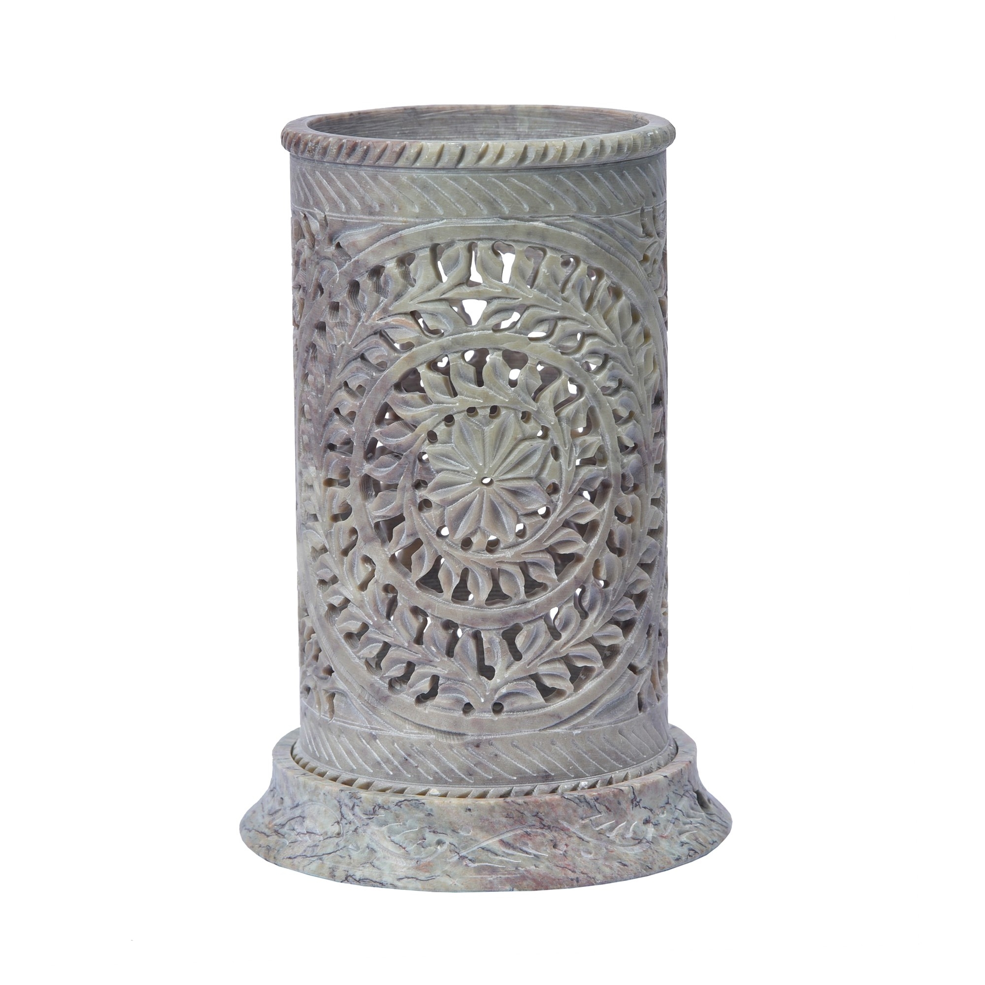 Patrico Hand Carved Soapstone Lantern, Medium
