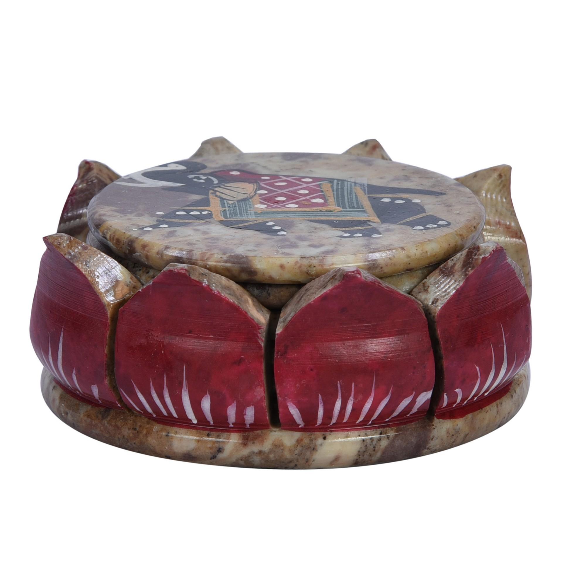 Bogan 7 Piece Hand Painted Stone Coaster Set