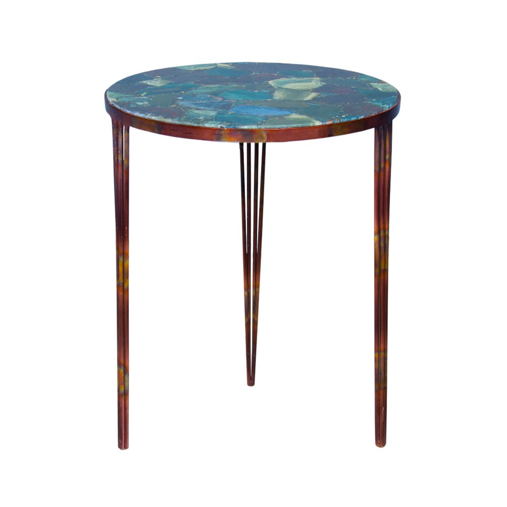 Vellisium Verde Marble & Metal Round Side Table