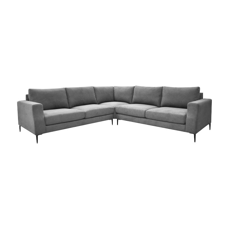 Sebert Linen Fabric 4 Seater Modular Corner Sofa, Storm