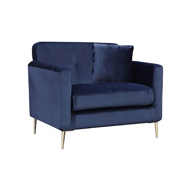 Gabriella Velvet Fabric Armchair, Navy