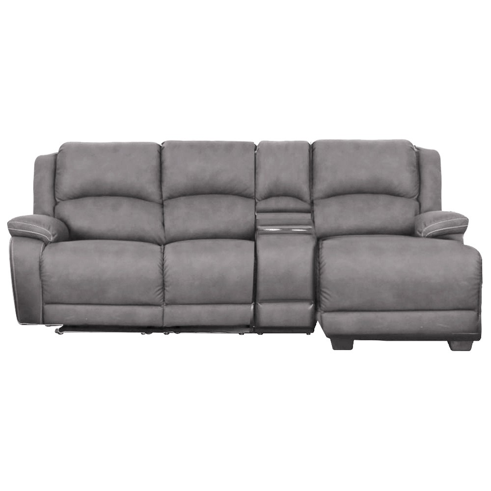 Turin 2 Seater Rhino Fabric Corner Sofa with Recliners & Right Hand Facing Chaise, Gunmetal