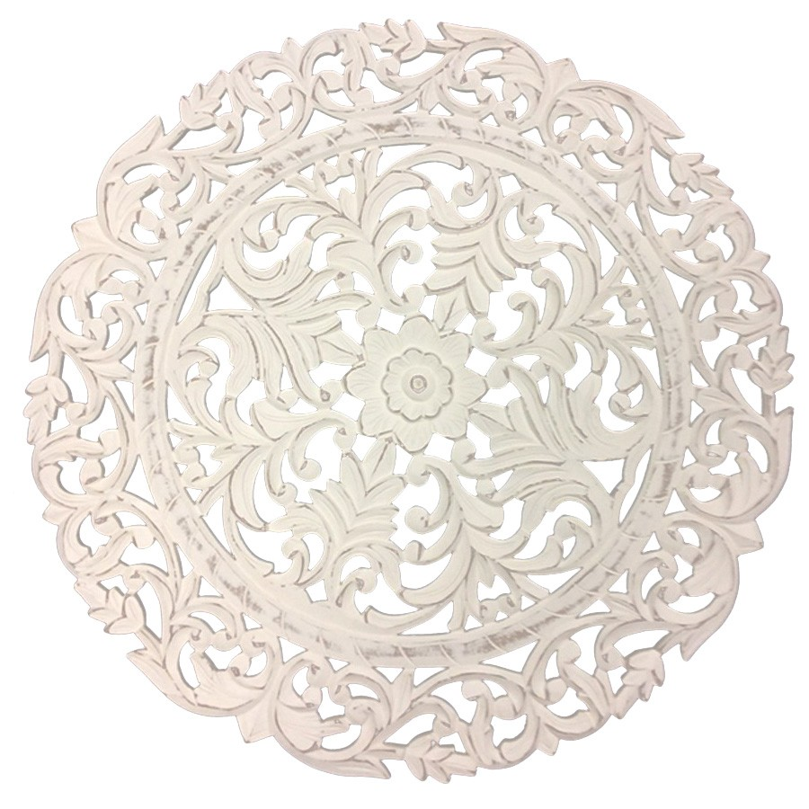 Verano Carved Wooden Round Wall Art, 70cm
