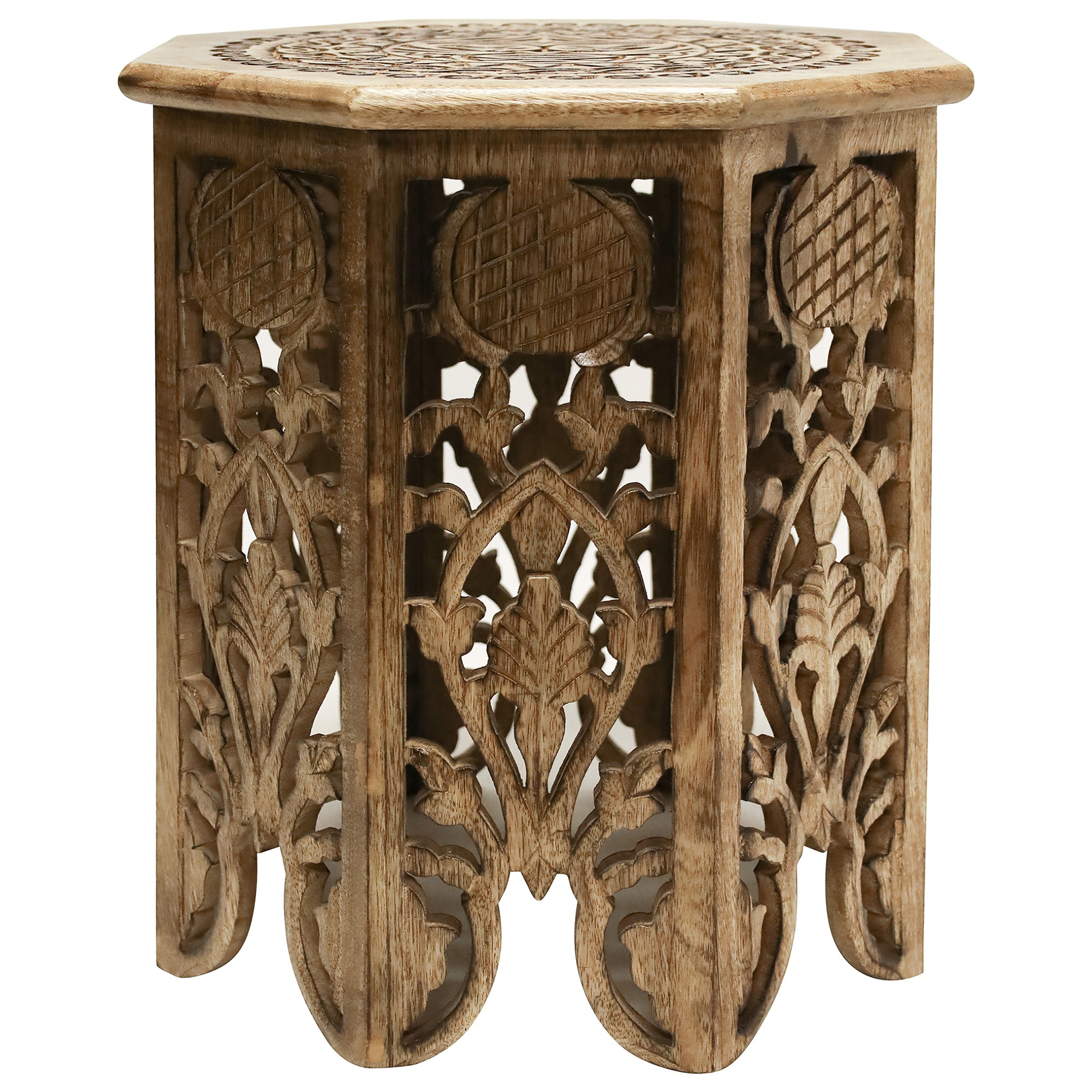 Chawla Carved Mango Wood Round Side Table