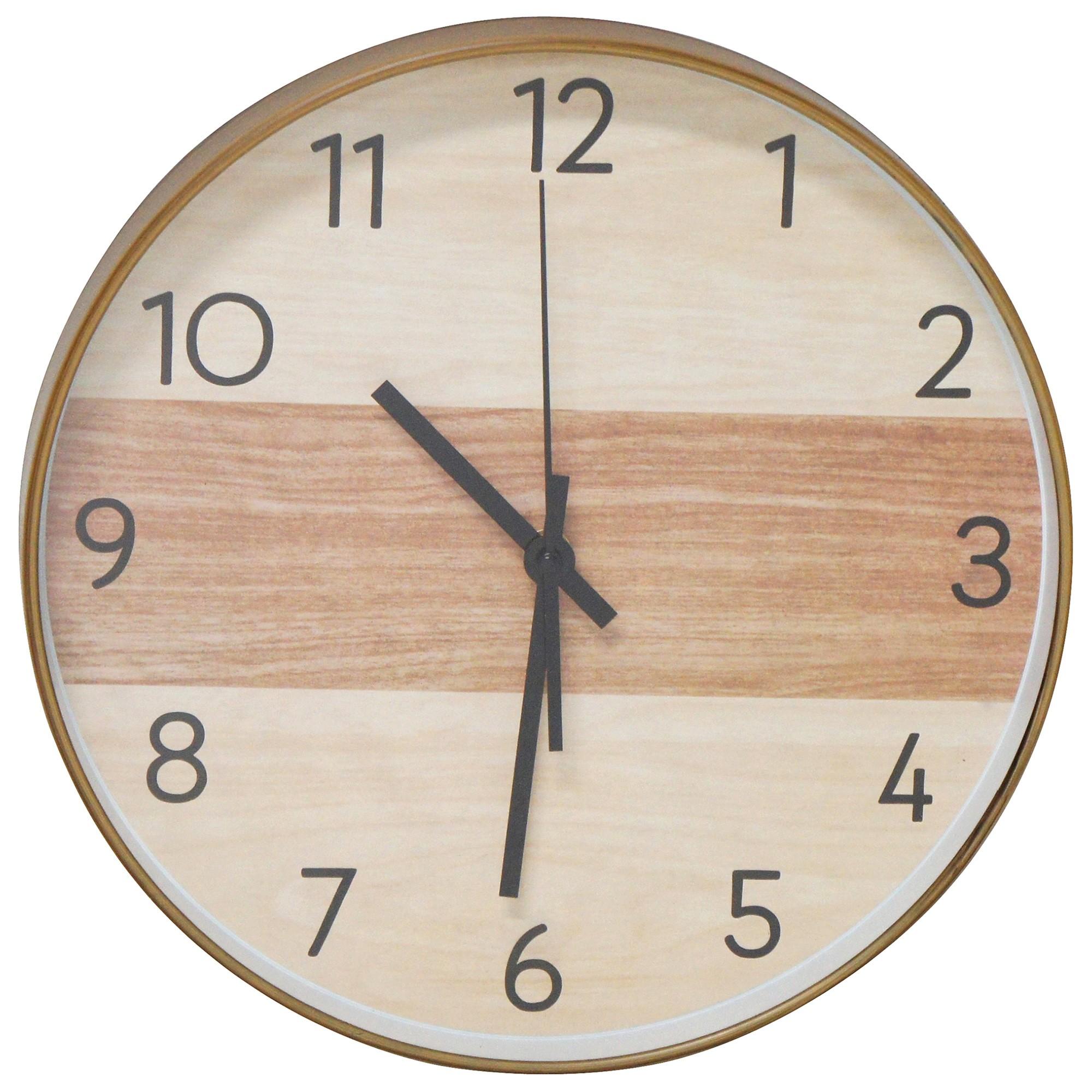 Toddi Wood Look Round Wall Clock, 31cm
