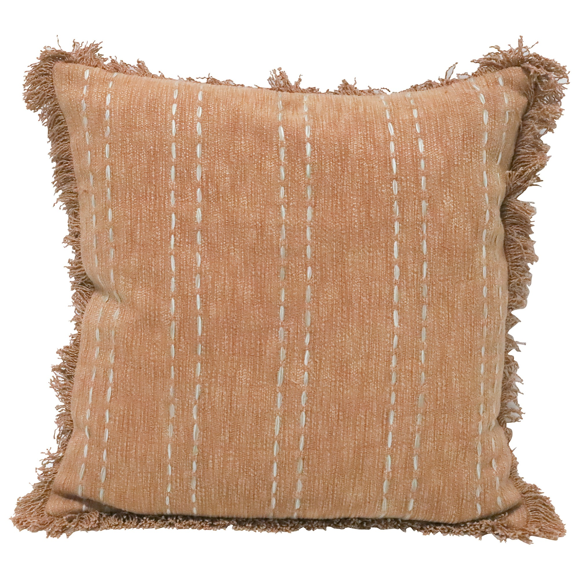 Khan Embroidered Cotton Scatter Cushion, Terracotta