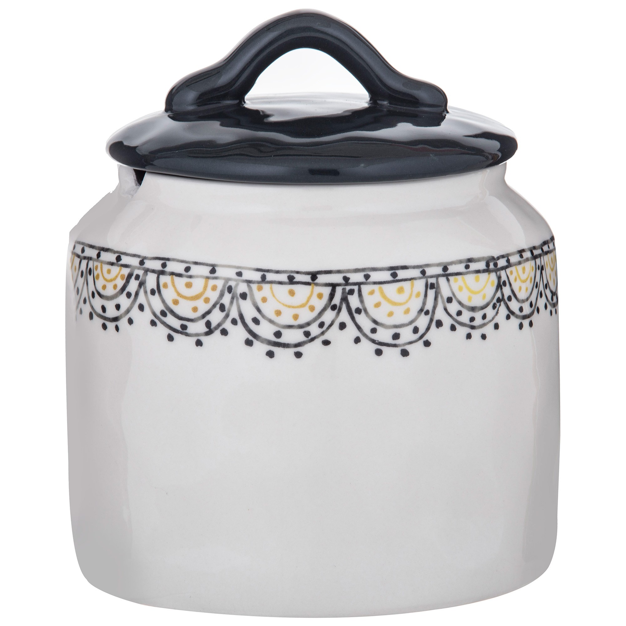 Ethnique Ceramic Canister, Black Lid