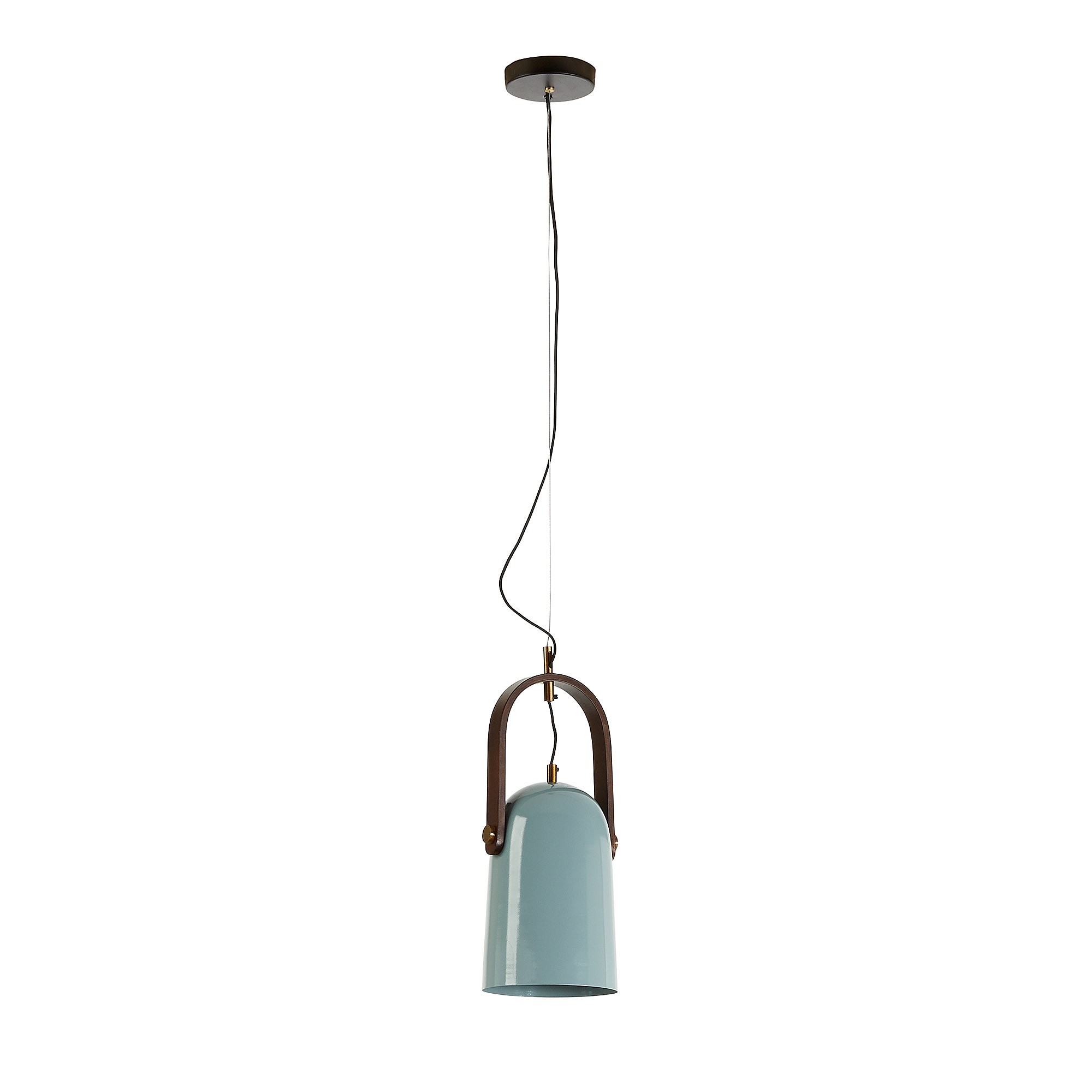 Zaka Steel Pendant Light, Long Shade, Duck Egg Blue