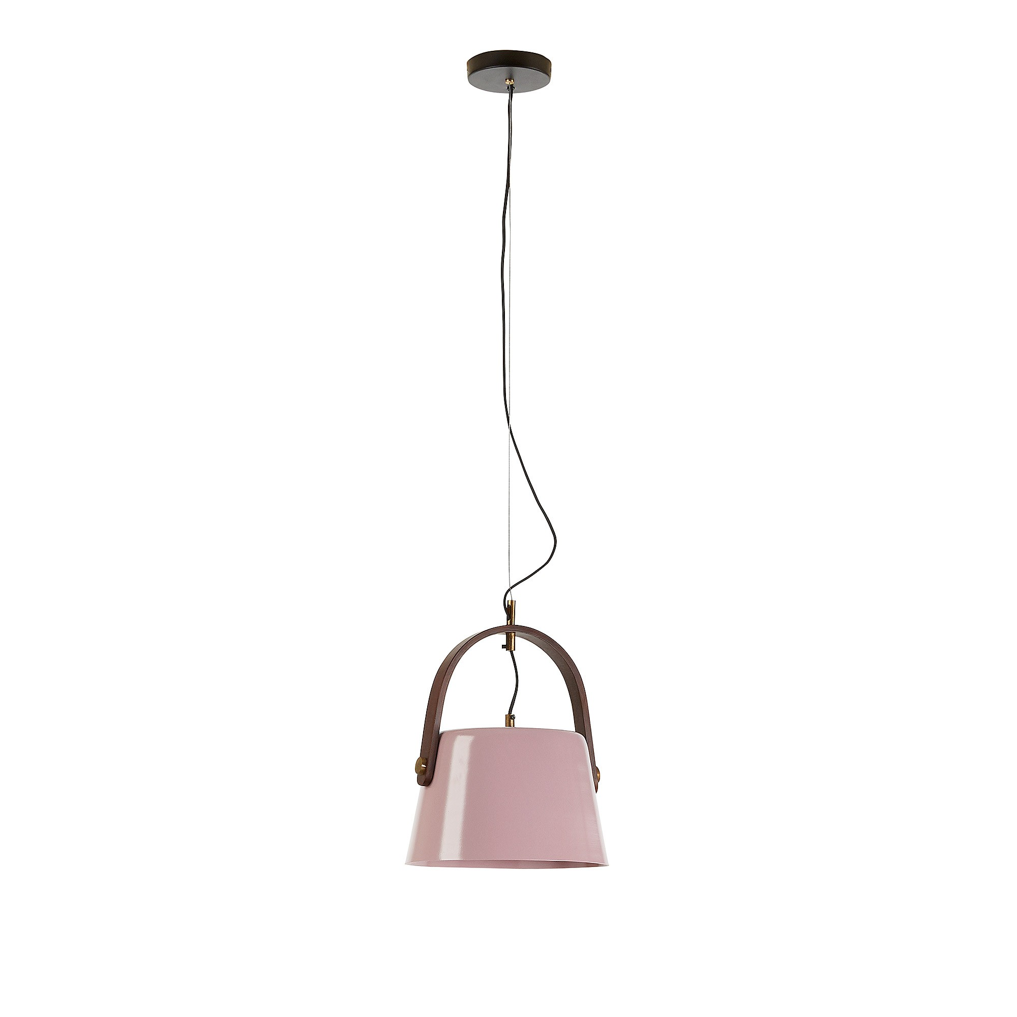 Zaka Steel Pendant Light, Wide Shade, Pink