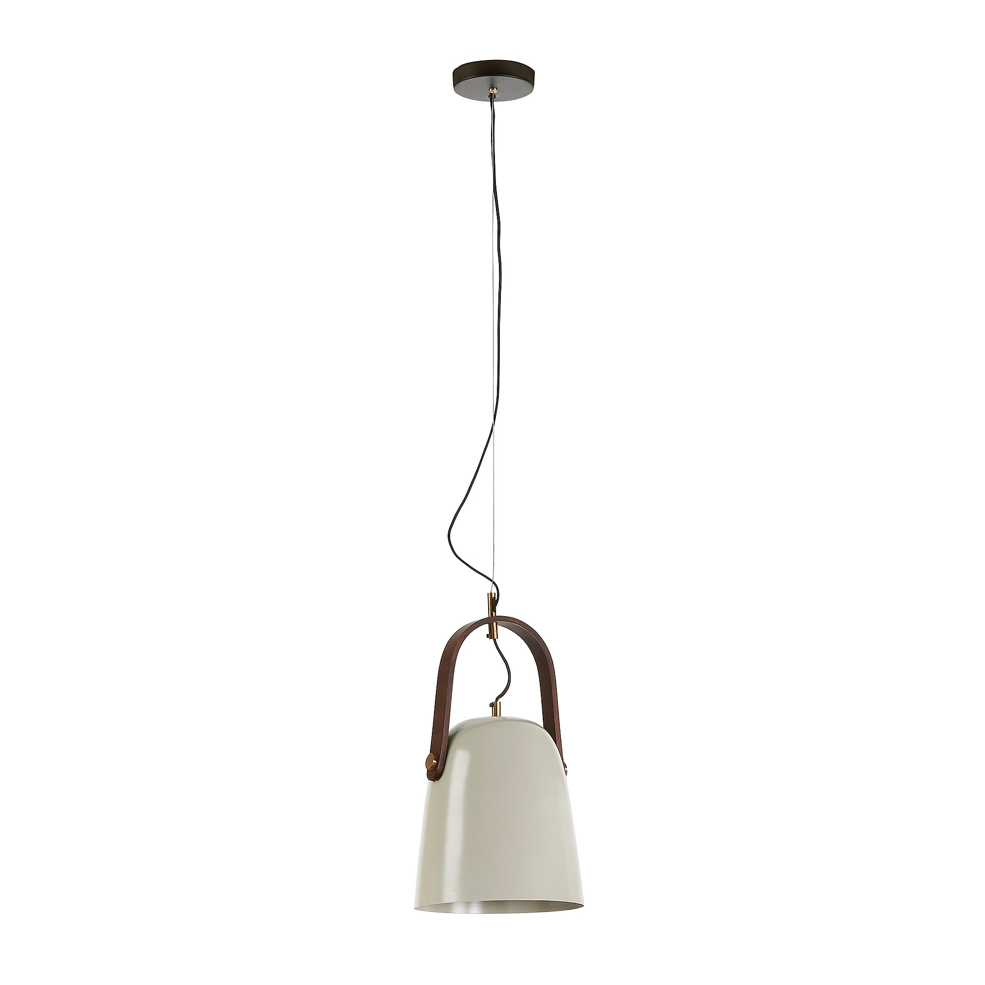 Zaka Steel Pendant Light, Long Shade, Light Beige