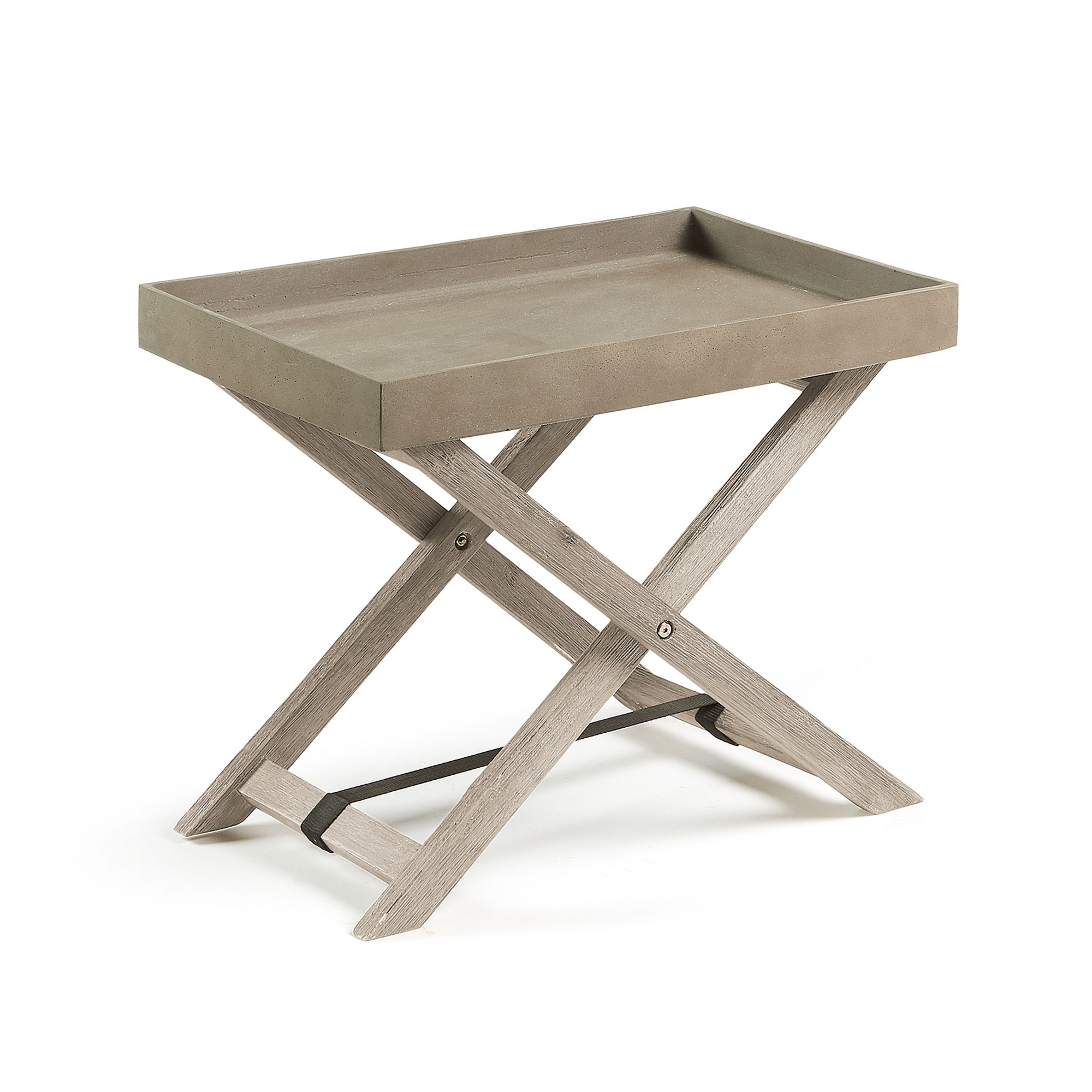 Sisley Acacia Timber Indoor / Outdoor Folding Side Table with Polycement Tray Top