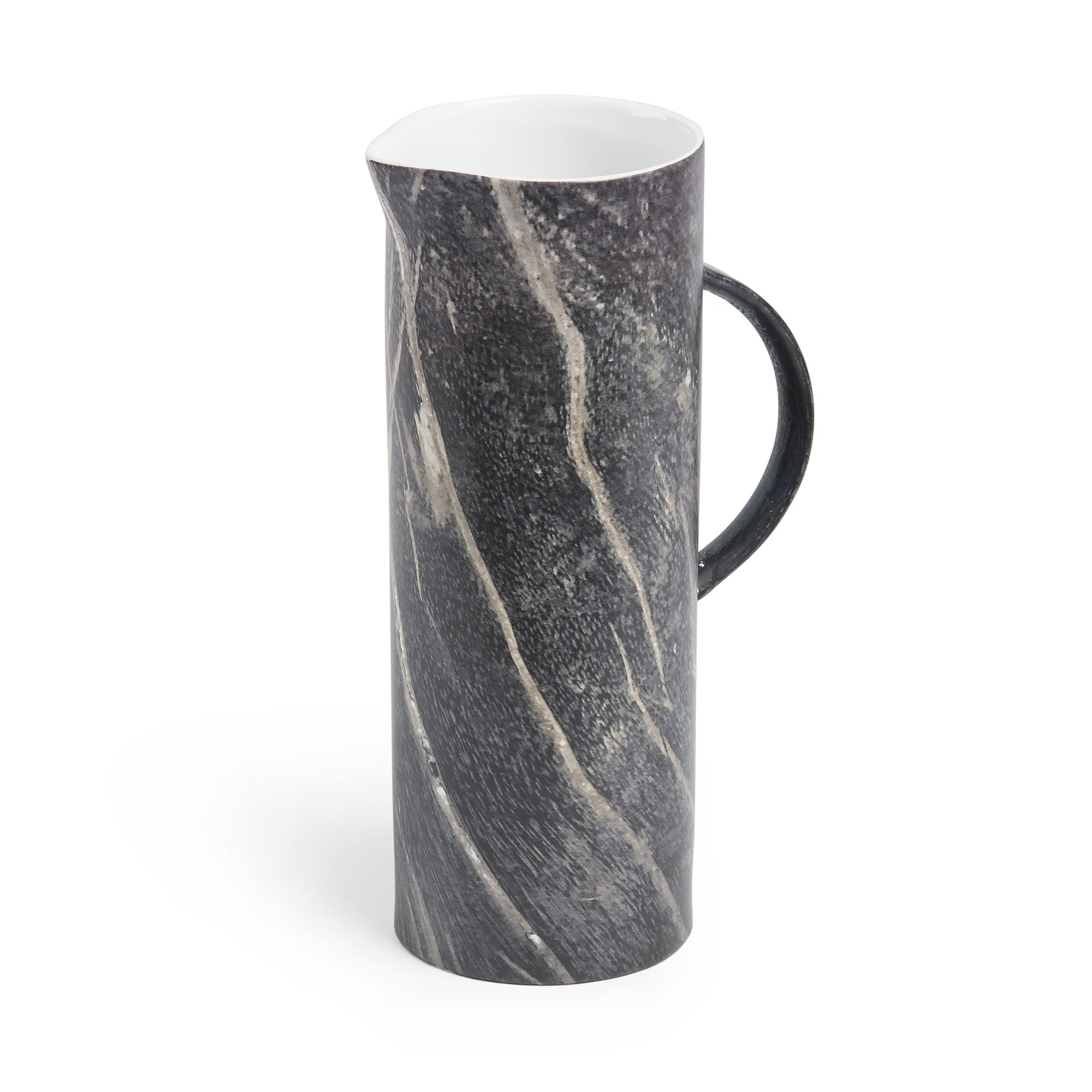 Maloney Ceramic Pitcher Vase, Dark Marble