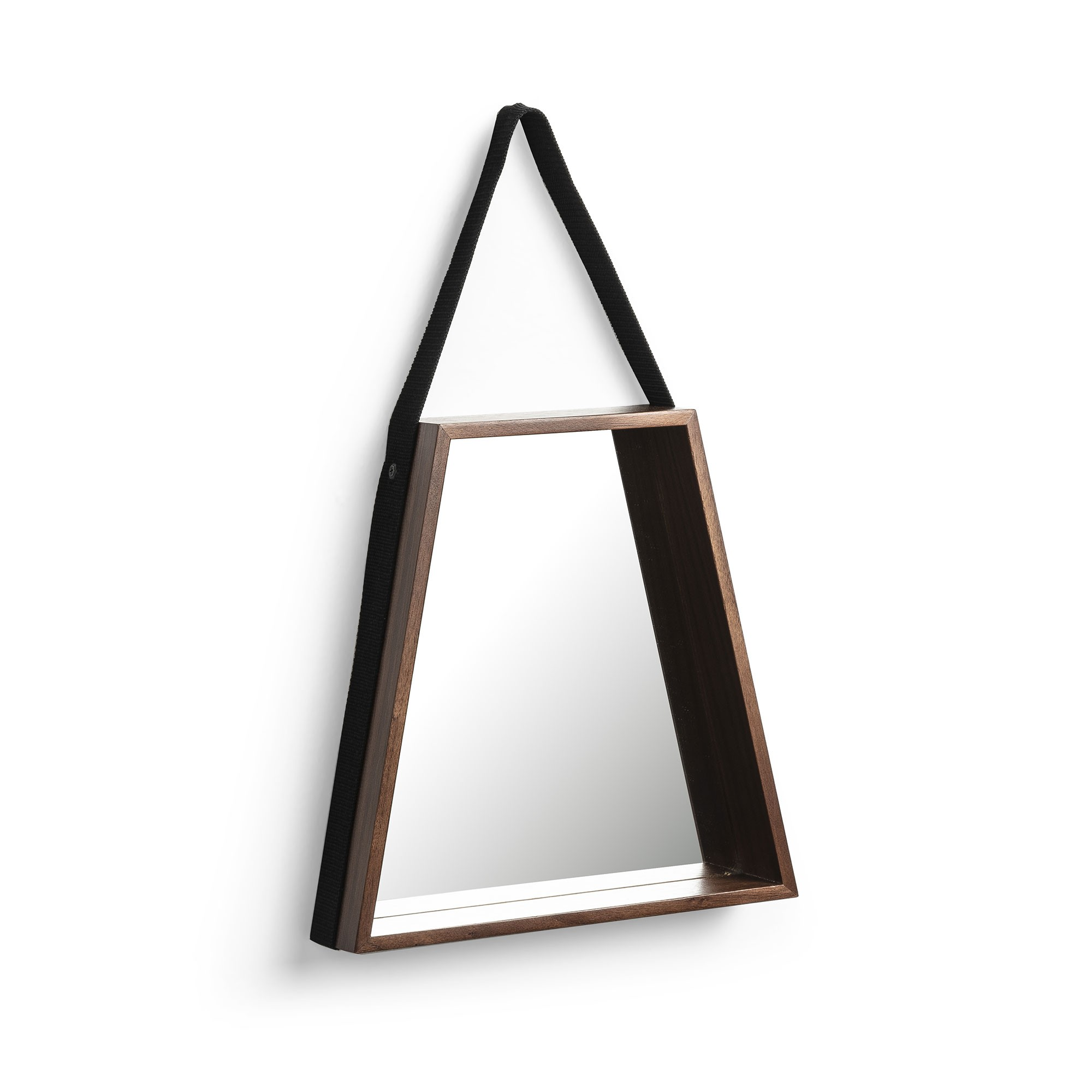 Regent Wooden Frame Trapezoid Hanging Wall Mirror, 49cm