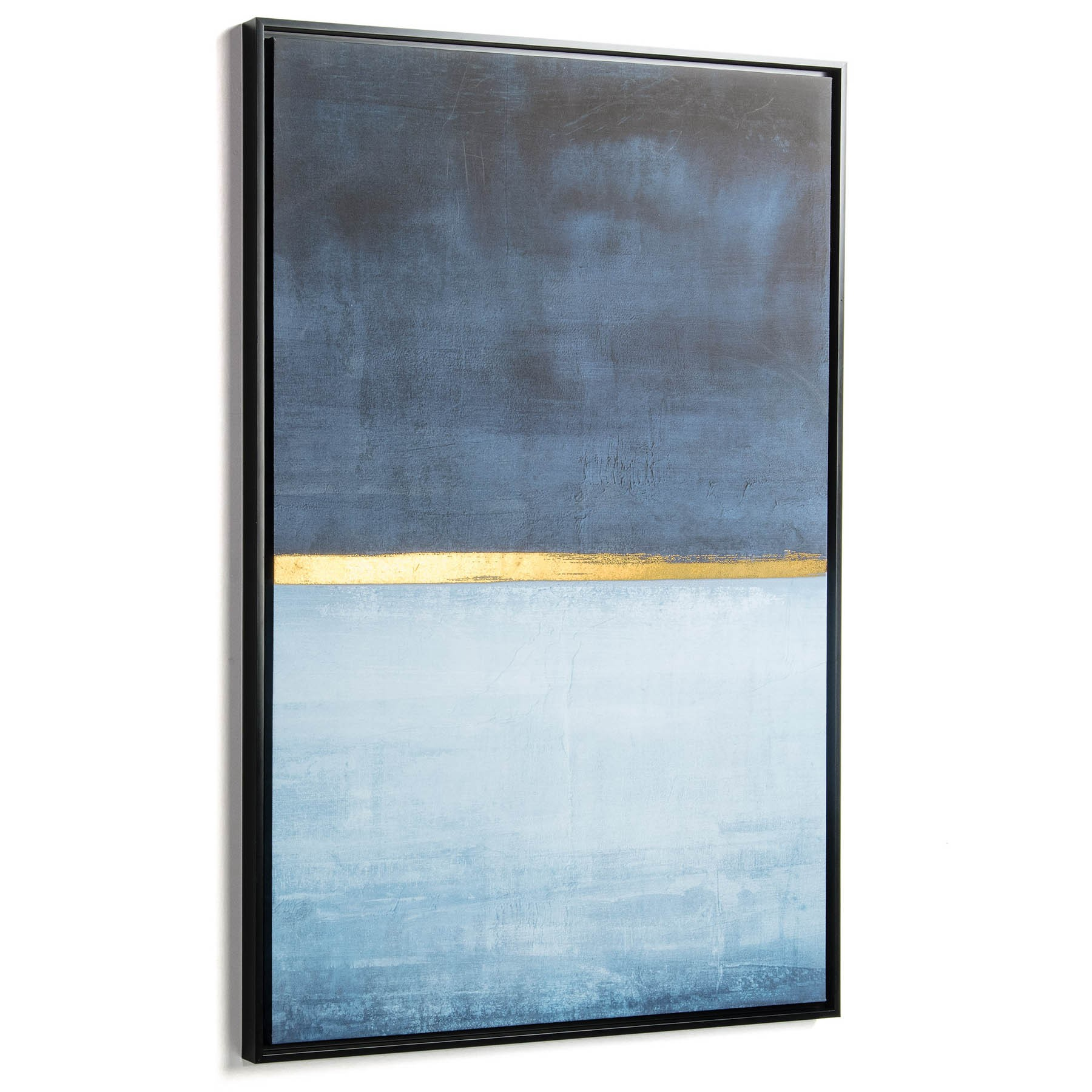 Anmer Framed Abstract Canvas Wall Art Print, Blue Shade, 90cm