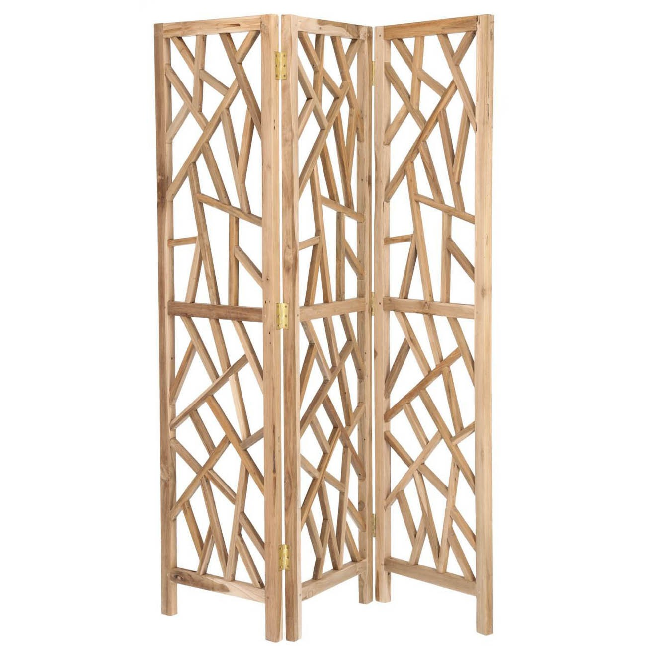 Evie Recycled Teak Timber Tri-fold Screen