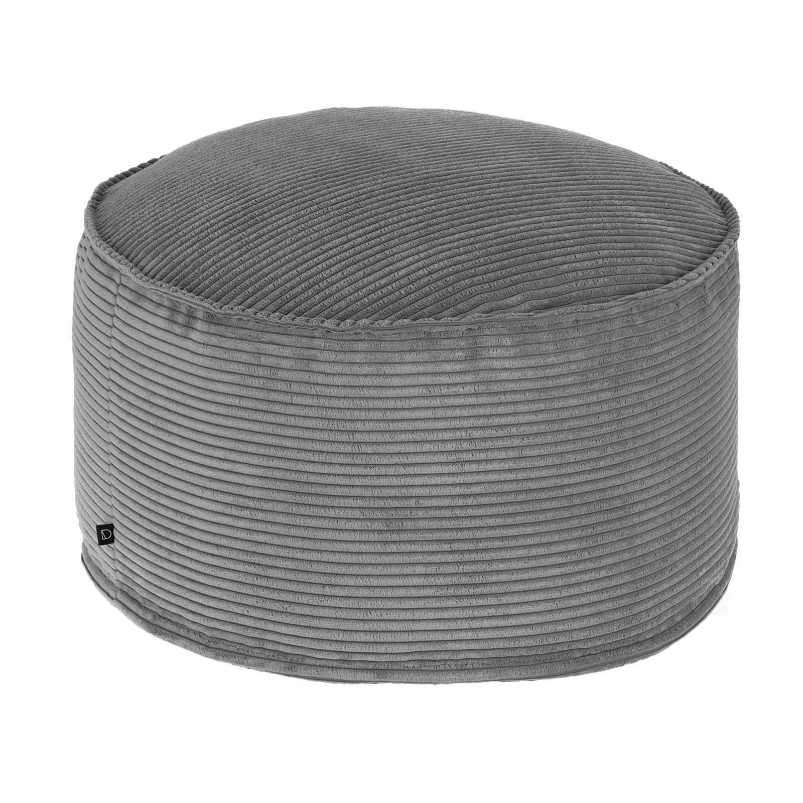 Lorton Corduroy Fabric Round Pouf, Dark Grey