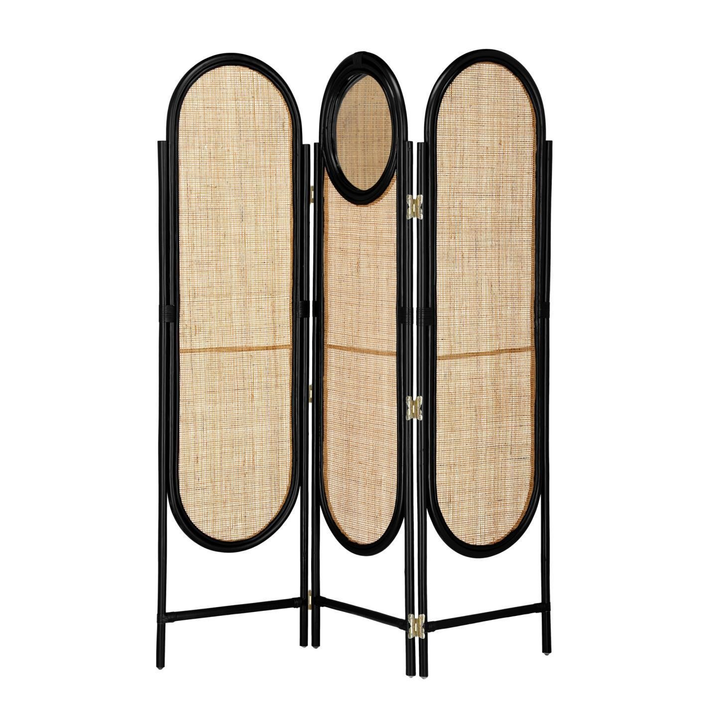 Otaki Handmade Bamboo Rattan Screen / Room Divider with Mirror, Black