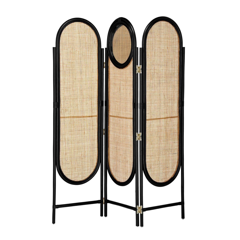 Otaki Handmade Bamboo Rattan Screen / Room Divider with Mirror, Black