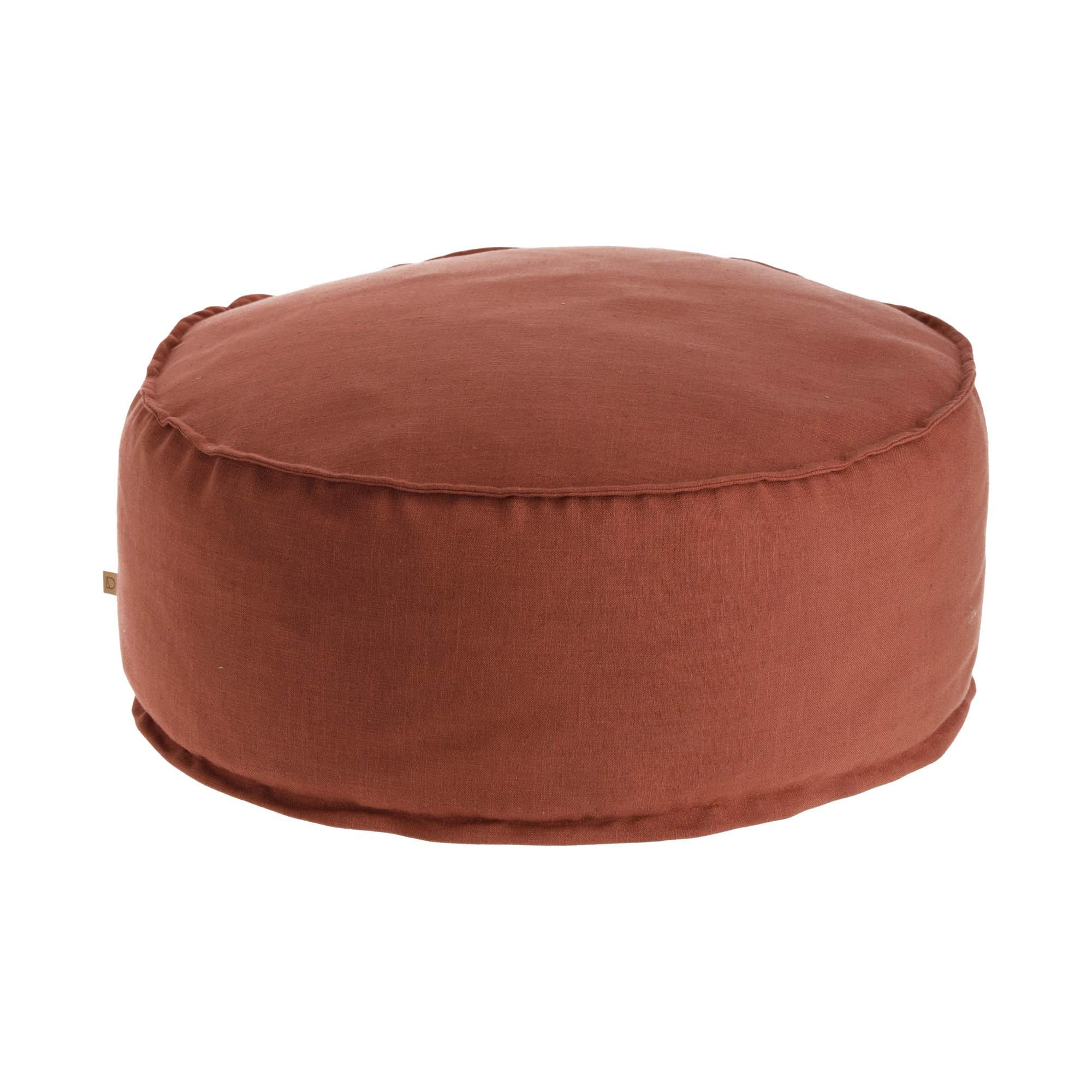 Moana Fabric Round Pouf, Maroon