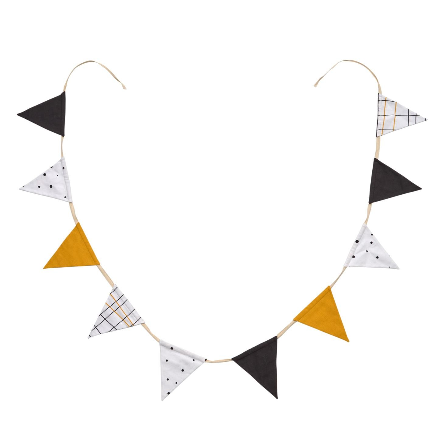 Epsom Organic Cotton Pennant Bunting, Black / Yellow