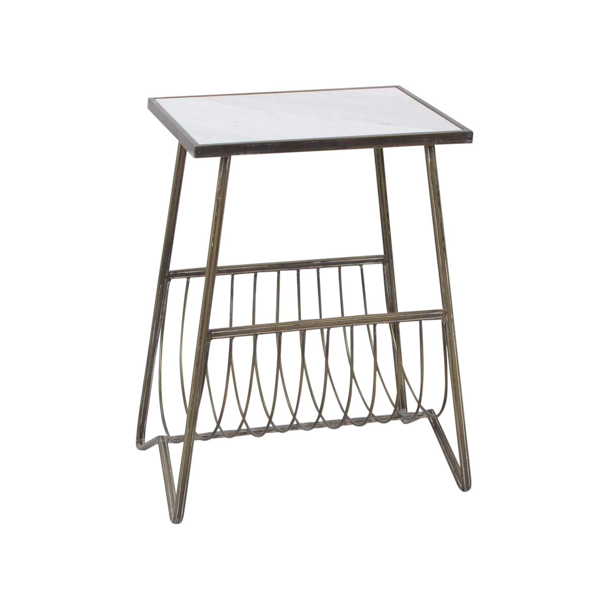 Monroe Marble Topped Iron Side Table with Magazine Rack