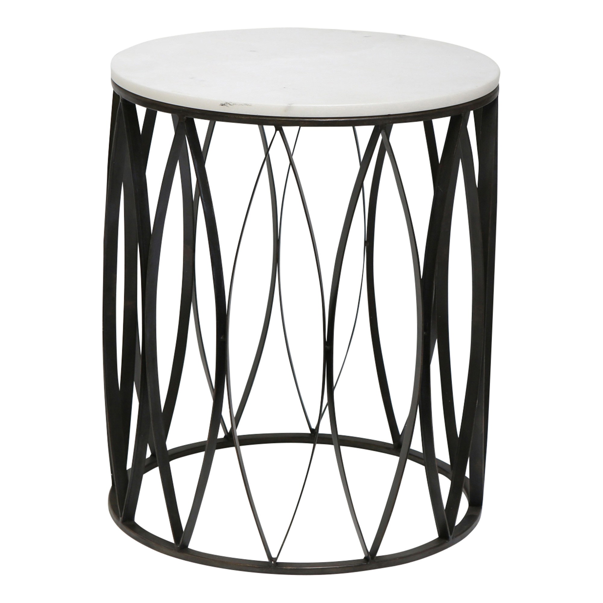 Logan Marble Topped Iron Round Side Table