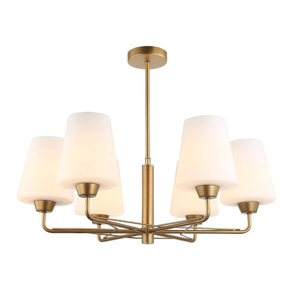 Abbey Glass & Iron Pendant Light / Chandelier, 6 Arm, Matt Gold