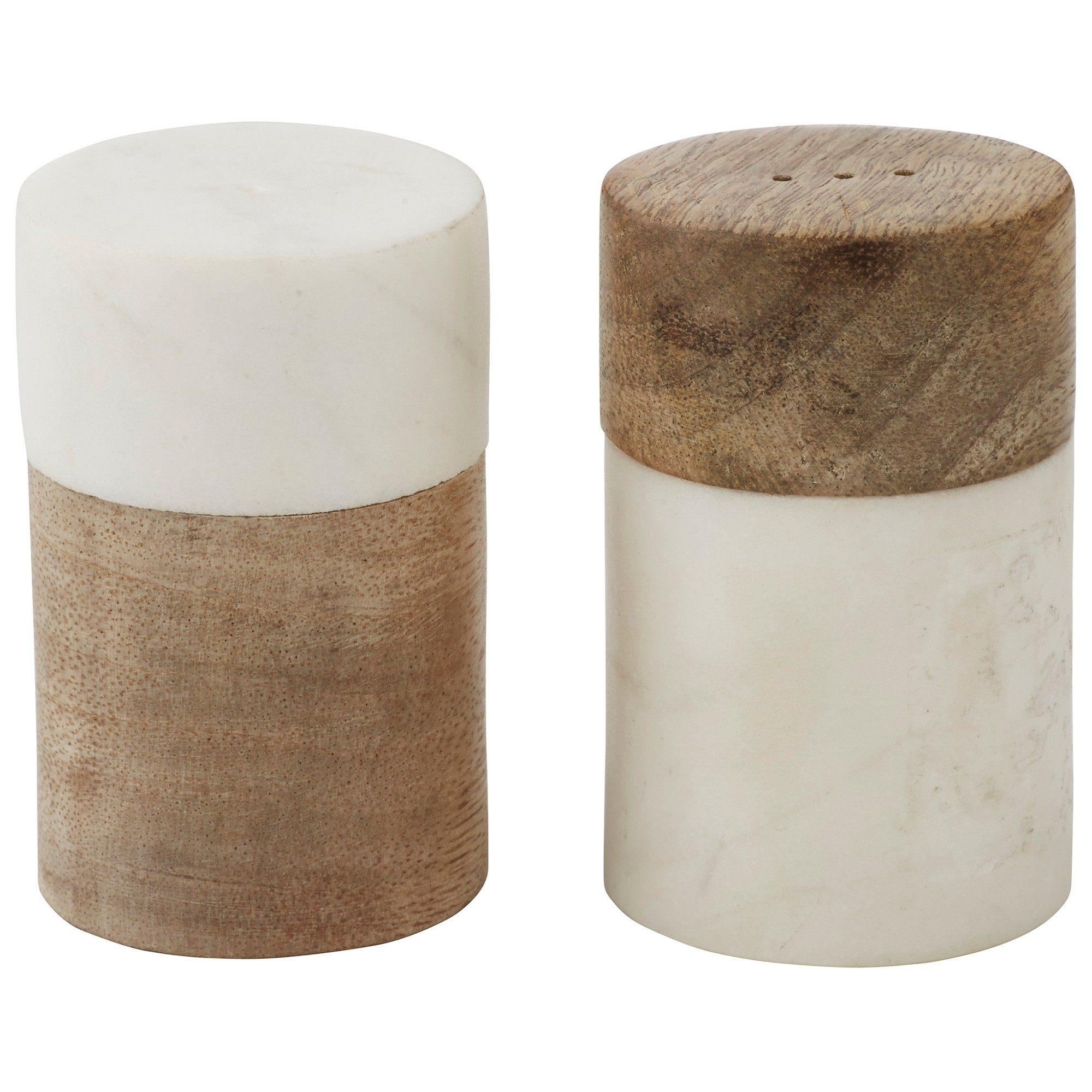 Eliot 2 Piece Marble & Mango Wood Salt & Pepper Shaker Set