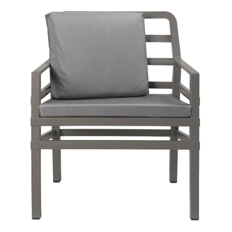 Aria Italian Made Commercial Grade Outdoor Armchair, Taupe / Light Grey