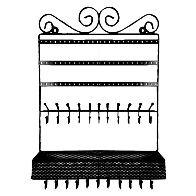 Victoria Metal Wall Jewellery Rack, Black