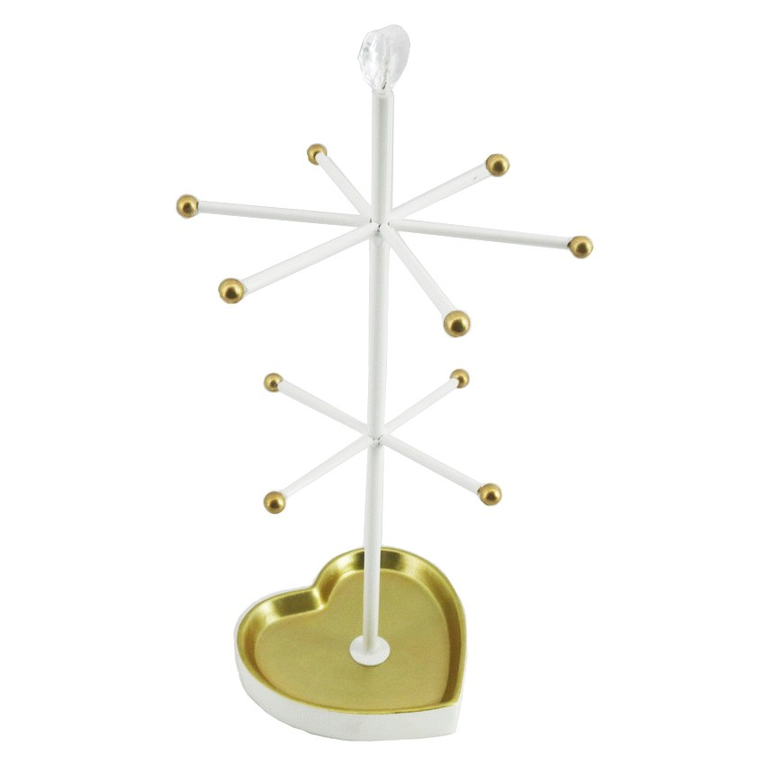 Warwick Metal Jewellery Stand, Gold / White