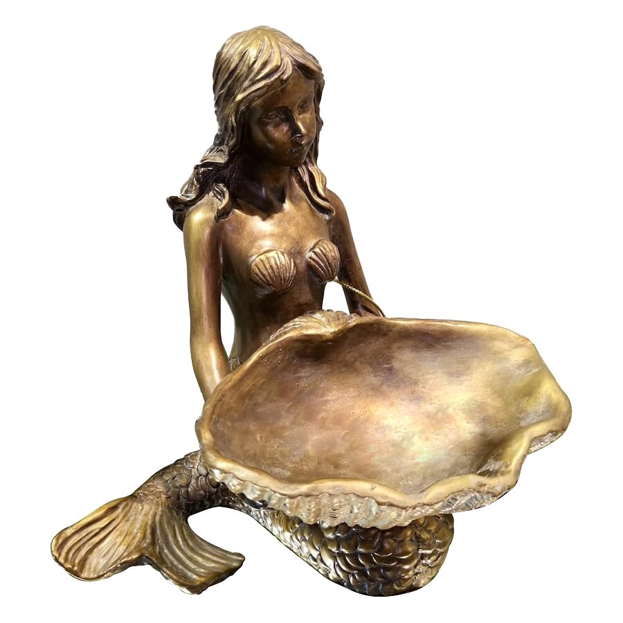 Mermaid Holding Shell Jewellery Tray, Bronze