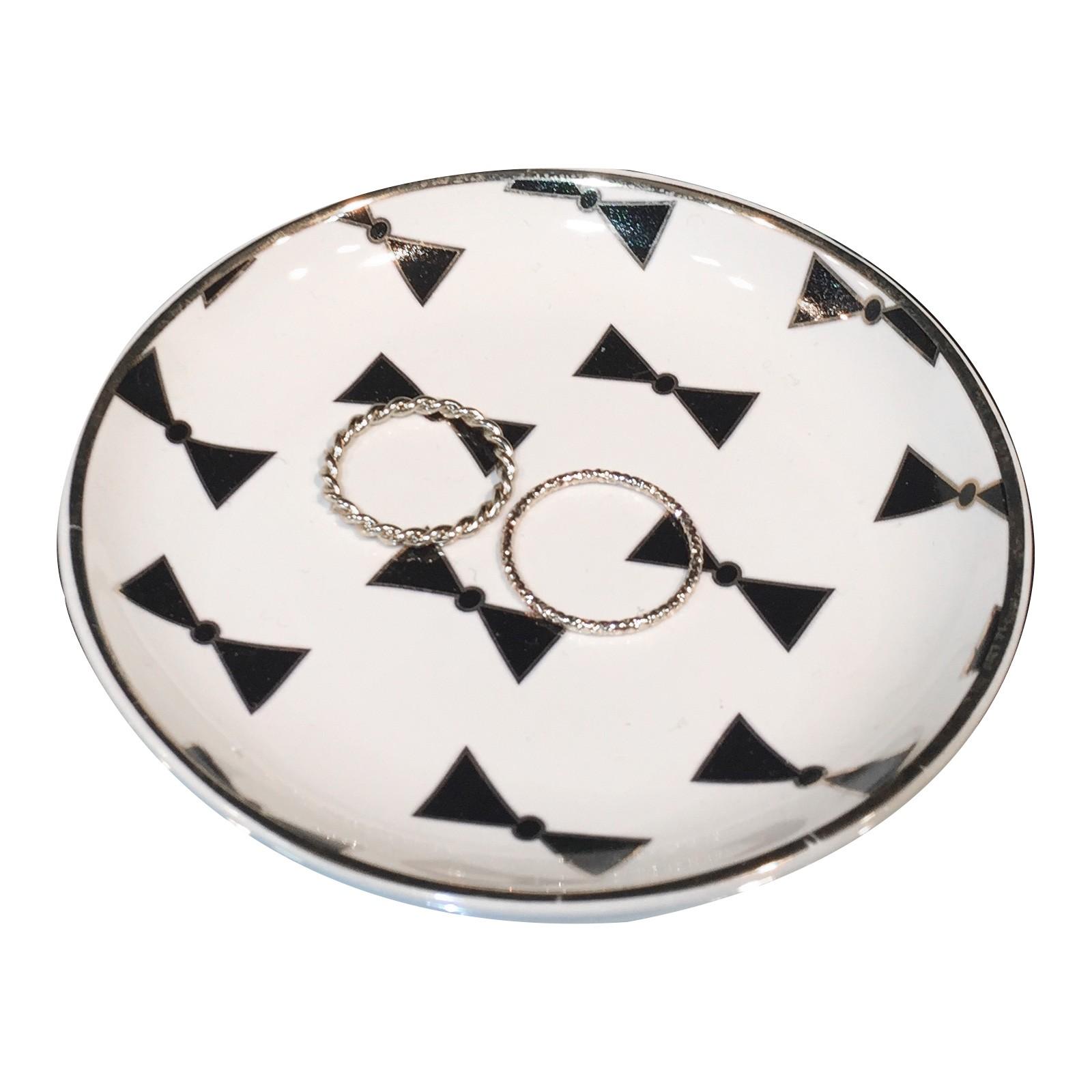 Bow Tie Round Ceramic Trinket Dish
