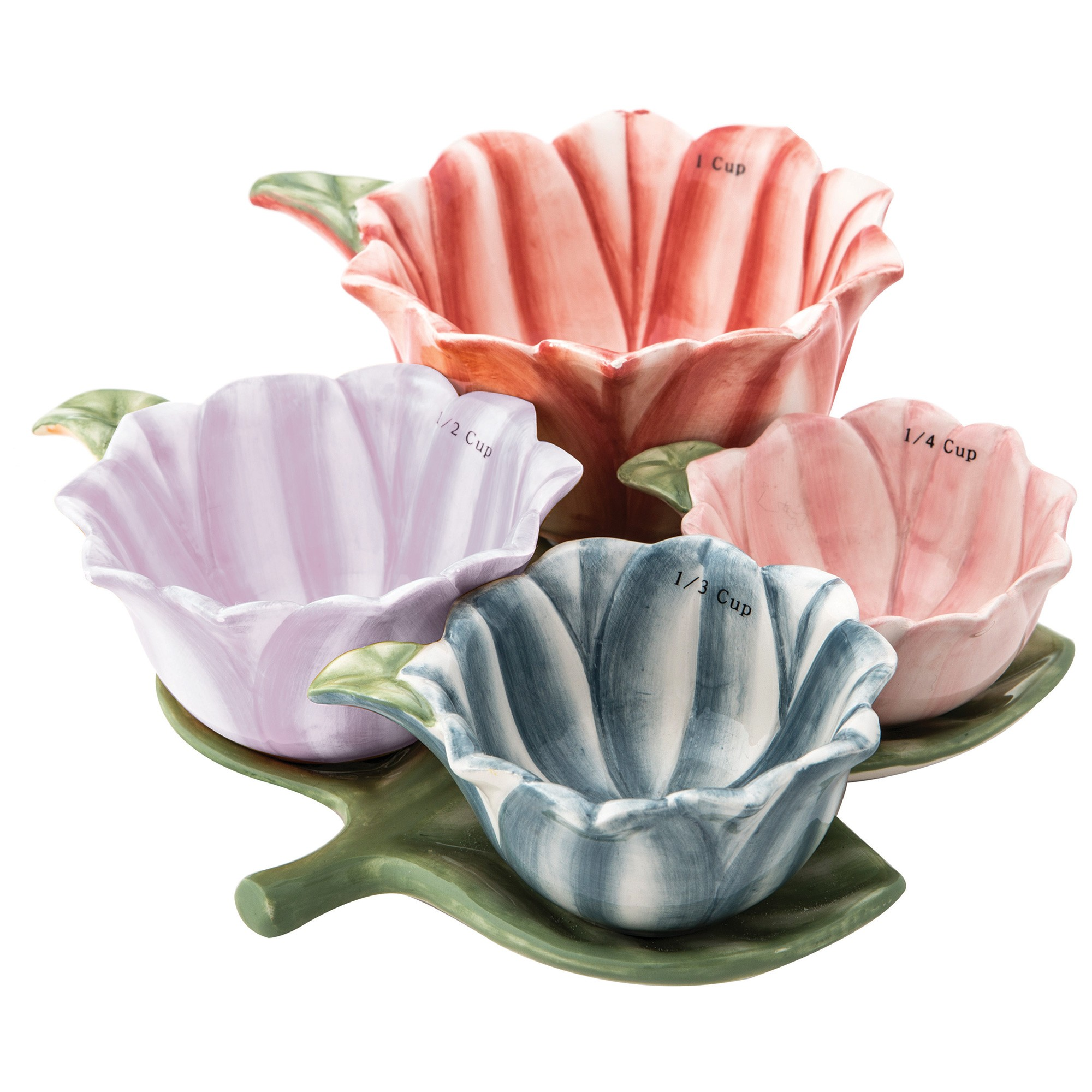 Anna Gare 5 Piece Dolomite Bouquet Measuring Cup & Leaf Tray Set