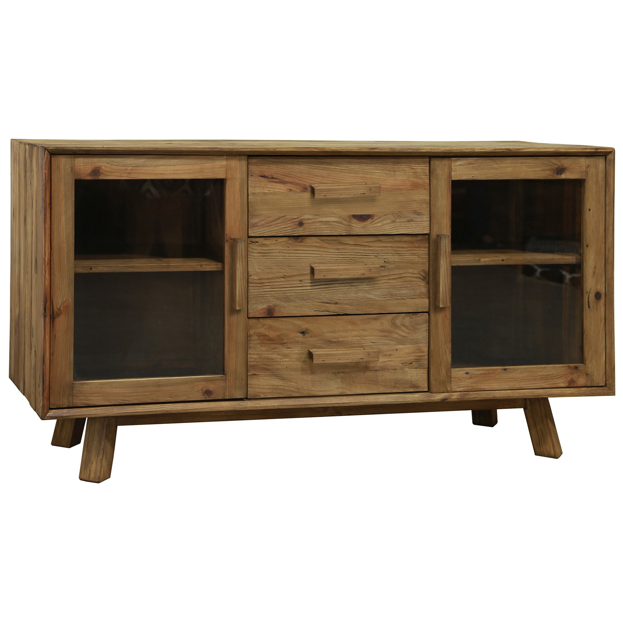 Mandalay Recycled Pine Timber 2 Door 3 Drawer Buffet Table, 162cm