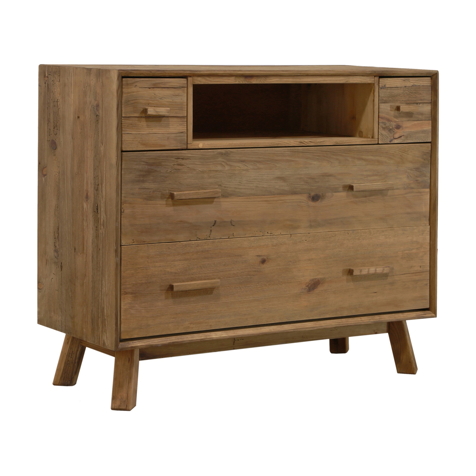 Mandalay Recycled Pine Timber 4 Drawer High TV Stand, 112cm