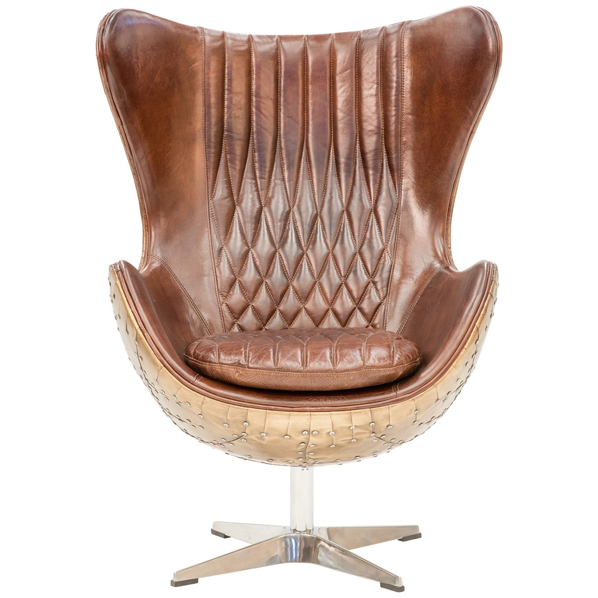 Dudley Industrial Aged Leather & Alloy Egg Chair