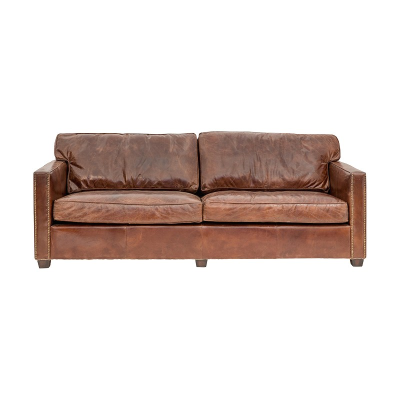 Chatham Aged Leather Sofa, 3 Seater, Cigar