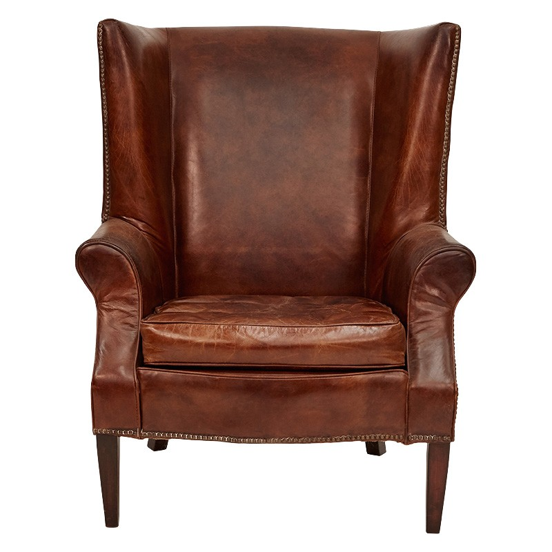 Seisdon Aged Leather Wingback Armchair